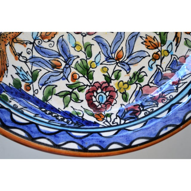 Italian Majolica Hand Painted Dish Plate Wall Blue White Green Red Handmade Vintage For Sale - Image 10 of 11