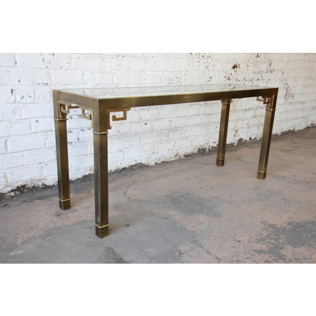 Mastercraft Hollywood Regency Brass and Glass Console Table with Greek Key Motif - Image 3 of 8