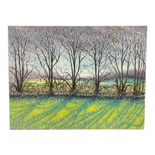 Large Impressionist Stretched Canvas Oil Painting Signed For Sale