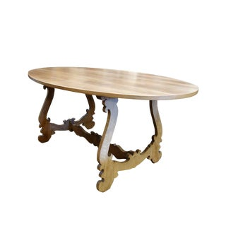 20th Century Italian Rustic Tuscan Refectory Style Oval Walnut Dining Table For Sale