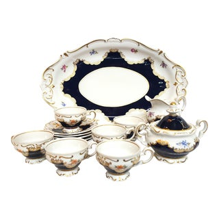 Weimar Porzellan Model #7427 Tea Set and Serving Plate For Sale