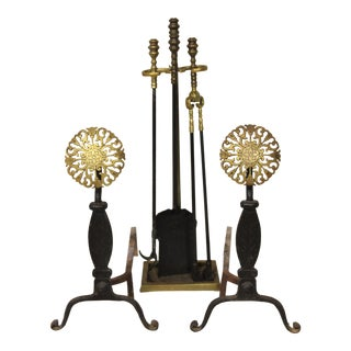 Vintage Arts & Crafts Andirons & Fire Tools For Sale