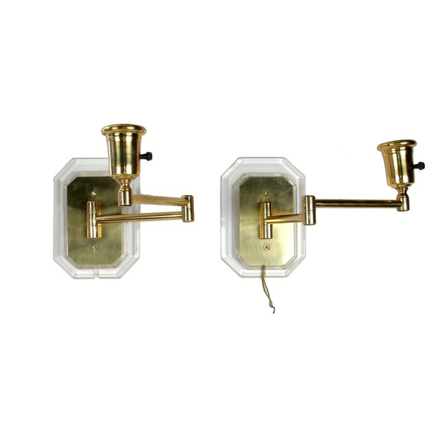 Lucite and Brass Swing Wall Sconces - Pair For Sale In Miami - Image 6 of 7