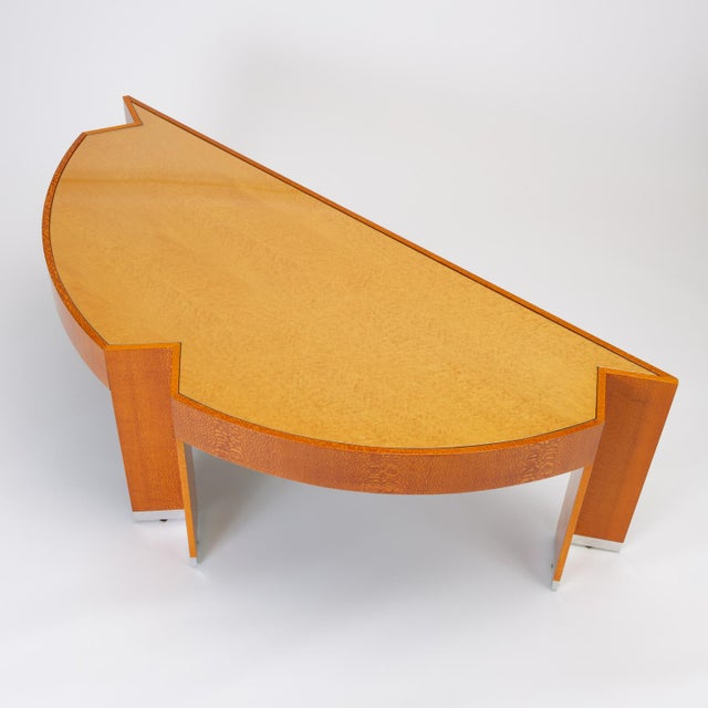 """Custom Lacewood """"Mezzaluna"""" Desk by Pace Collection For Sale - Image 13 of 13"""