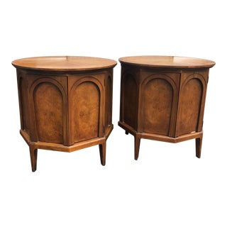 1960s Mid Century Modern Thomasville Burl Wood Nightstands - a Pair For Sale