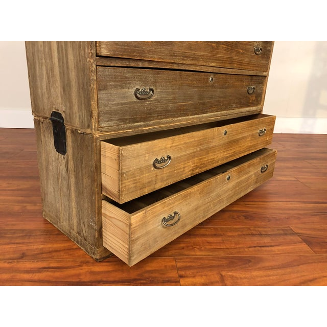 Brown 3 Piece Stacking Vintage Japanese Tansu Chest For Sale - Image 8 of 13