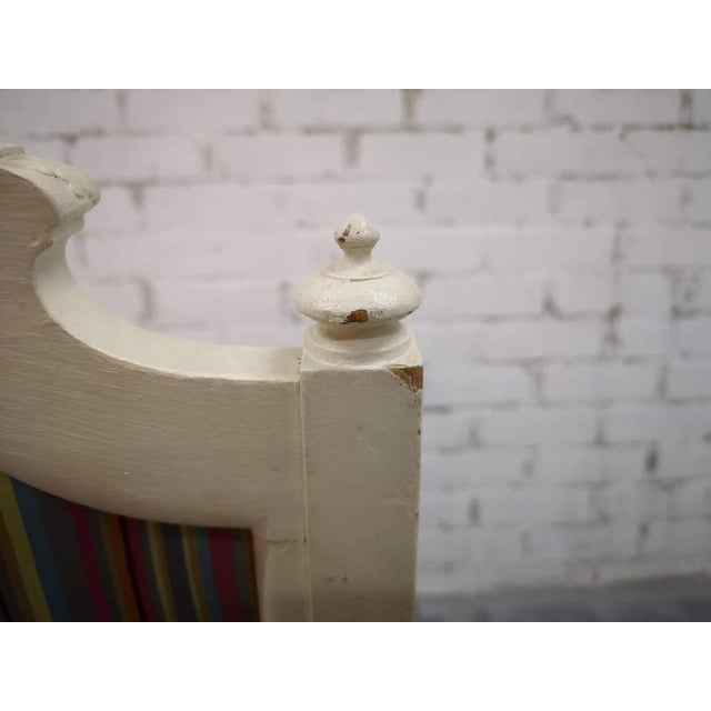 Vintage French Reupholstered Louis XVI Style Shabby Chic White Armchair For Sale In New York - Image 6 of 12