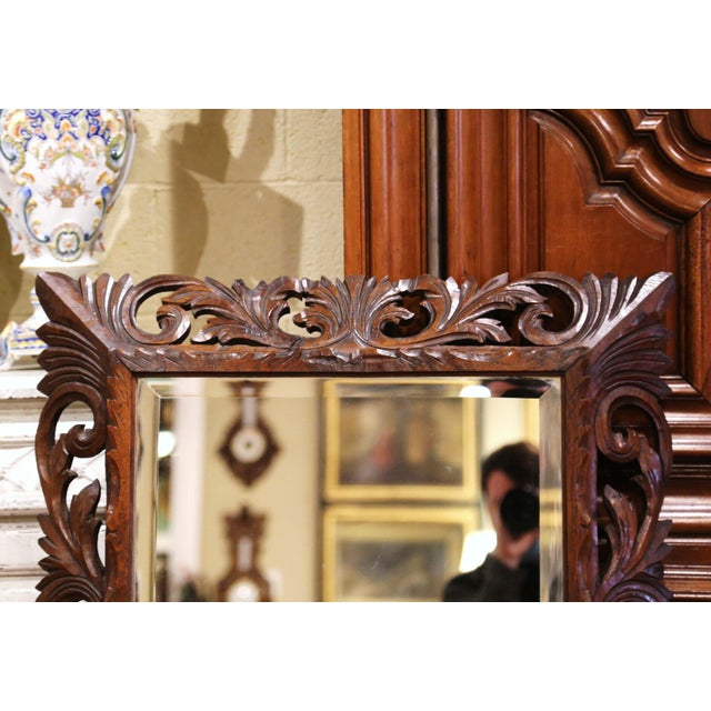 19th Century French Louis XIII Carved Oak Overlay Beveled Glass Wall Mirror For Sale In Dallas - Image 6 of 9