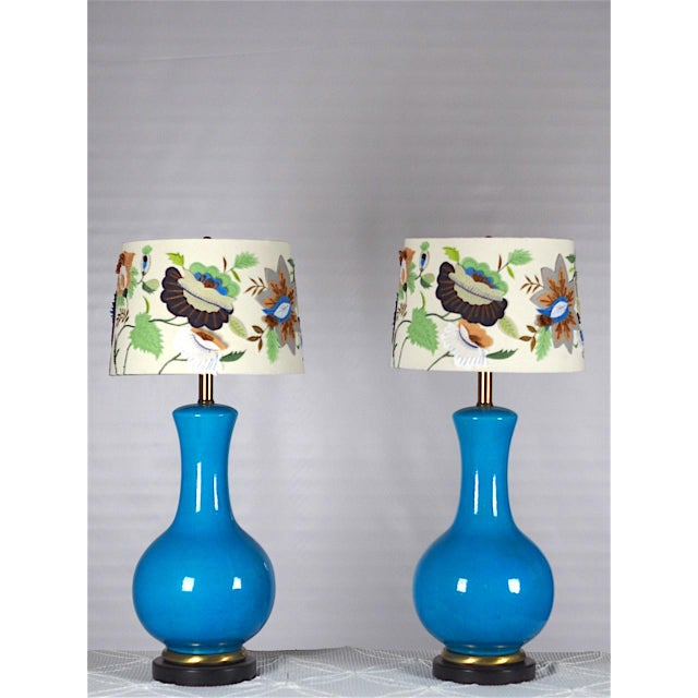 Mid-Century Large Blue Table Lamps- A Pair - Image 2 of 4