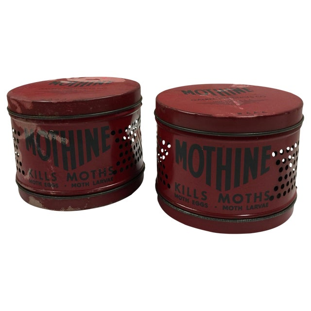 Vintage Red Mothine Tins - A Pair For Sale