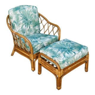 Tropicale Rattan Chair & Ottoman Set For Sale