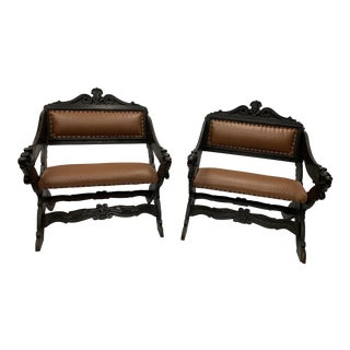 Egyptian Revival Bench Chairs - a Pair For Sale