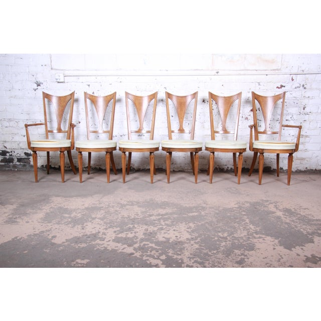 Romweber Mid-Century Modern Cherry and Burl Wood Dining Set, 1960s - Set of 7 For Sale - Image 11 of 13