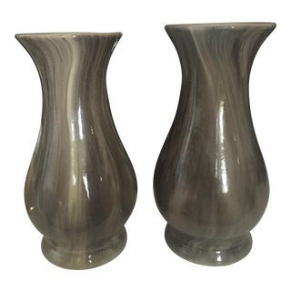 Set of 2 Marbelized Gray Vases