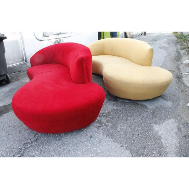 Curved Kidney Chrome Ultrasuede Sofas - A Pair For Sale In West Palm - Image 6 of 11