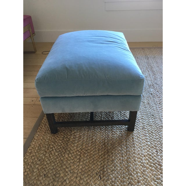 A. Rudin Blue Upholstered Ottoman - Image 2 of 11