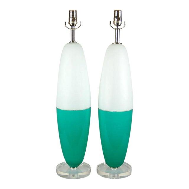 Vintage Murano Glass Table Capsule Lamps in Aqua/White For Sale