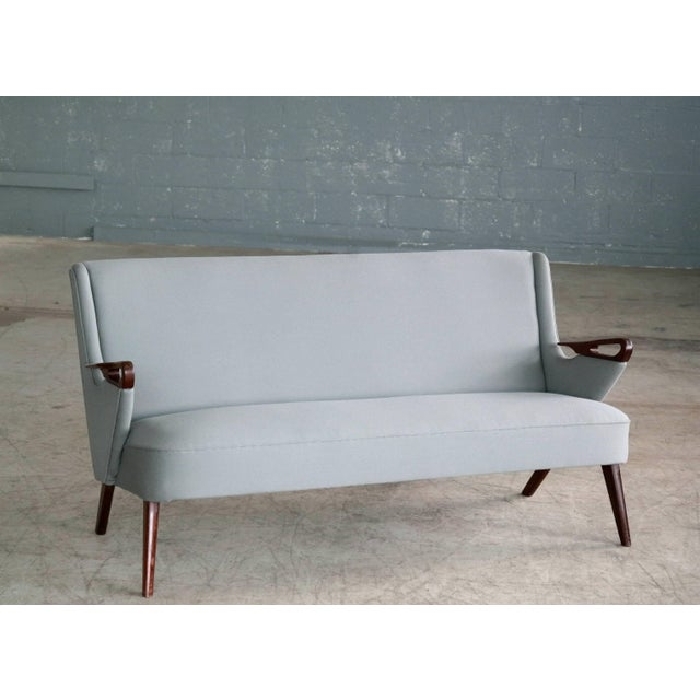 Mid-Century Modern Sven Skipper Attributed 1950s Small Sofa in Wool and Teak Danish, Midcentury For Sale - Image 3 of 11
