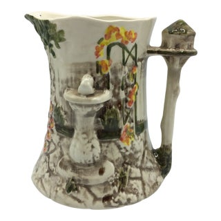 Majolica Garden Scene Jug by Flora & Fauna Staffordshire England For Sale