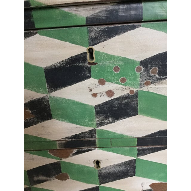 Geometric Hand Painted Antique Chest of Drawers - Image 9 of 10