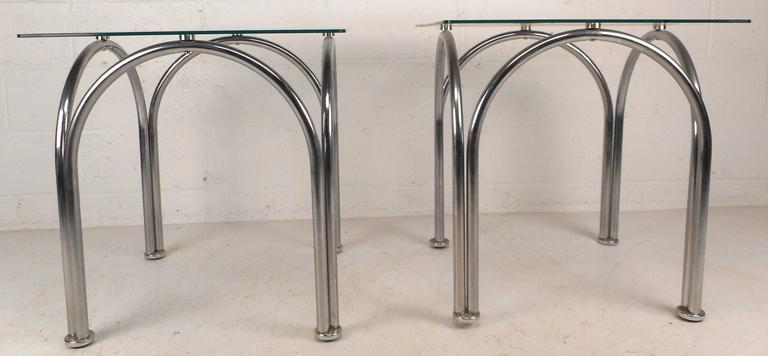 Mid Century Modern Mid Century Modern Glass And Chrome End Tables For Sale