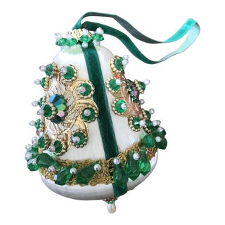 1950s Mid Century Beaded Fancy Christmas Ornament Green White Bell For Sale