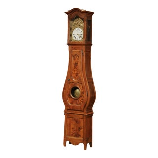 Late 18th Century French Louis XV Carved Burl Walnut Tall Case Clock From Lyon For Sale