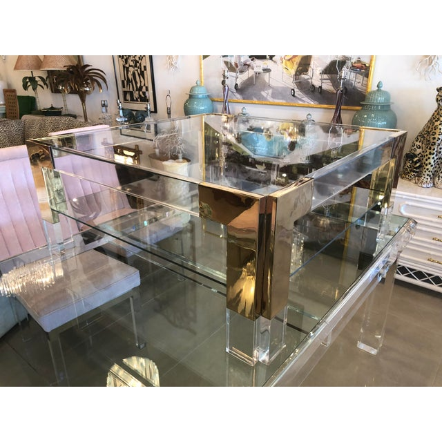 Gold Vintage Lucite Brass 2 Tier Coffee Cocktail Table For Sale - Image 8 of 12