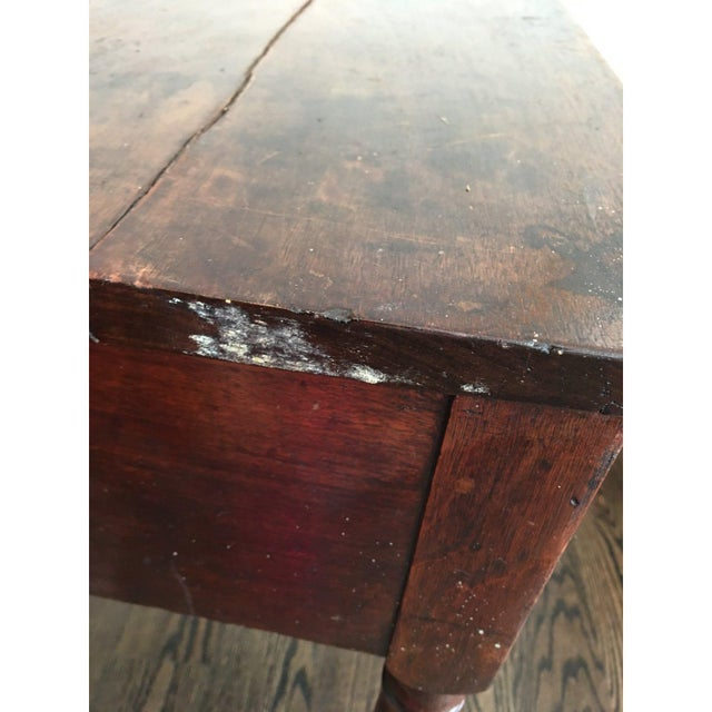 Brown 20th Century Rustic Drop Leaf Work Table For Sale - Image 8 of 10