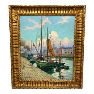 Early 20th Century Impressionistic Romantic European Dock Scene Oil Painting by R. Raymond For Sale