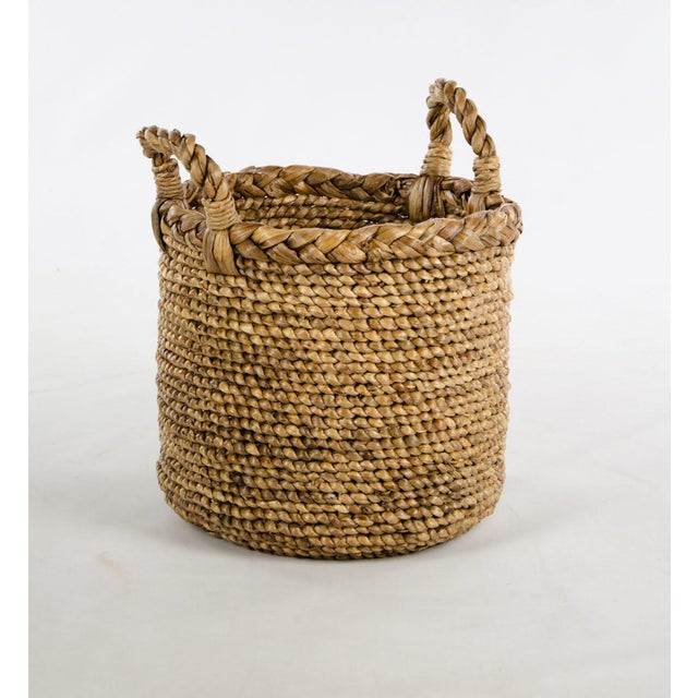 Tan Woven Seagrass Handled Basket For Sale - Image 8 of 8