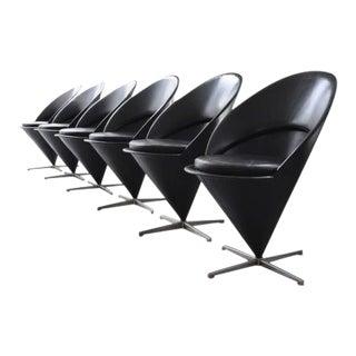 Exclusive, Cone Chairs in Black Leather by Verner Panton for Gebrüder Nehl, Set of 6