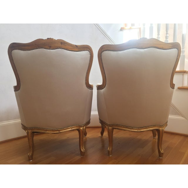 1960s Louis XV Gilt Wood and Fortuny Silver Silk Blend Upholstered Bergere Chairs - a Pair For Sale - Image 11 of 12