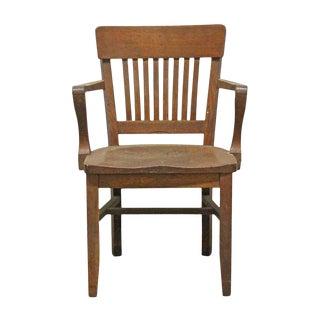 Antique Oak Banker Chair For Sale