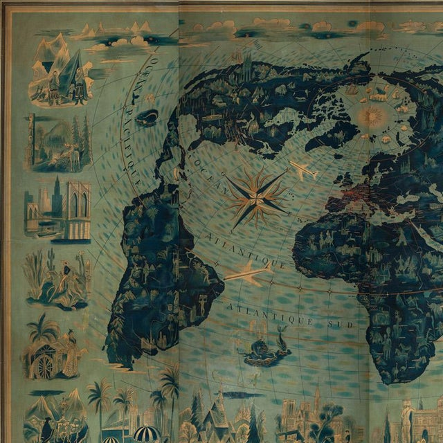 Modern Four Reproduction Vintage Panels of Air France World Map For Sale - Image 3 of 5