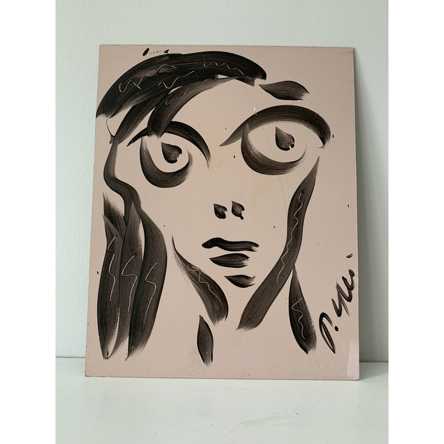 Peter Keil Vintage Mid-Century Signed Peter Keil Acrylic Abstract Portrait Painting For Sale - Image 4 of 8