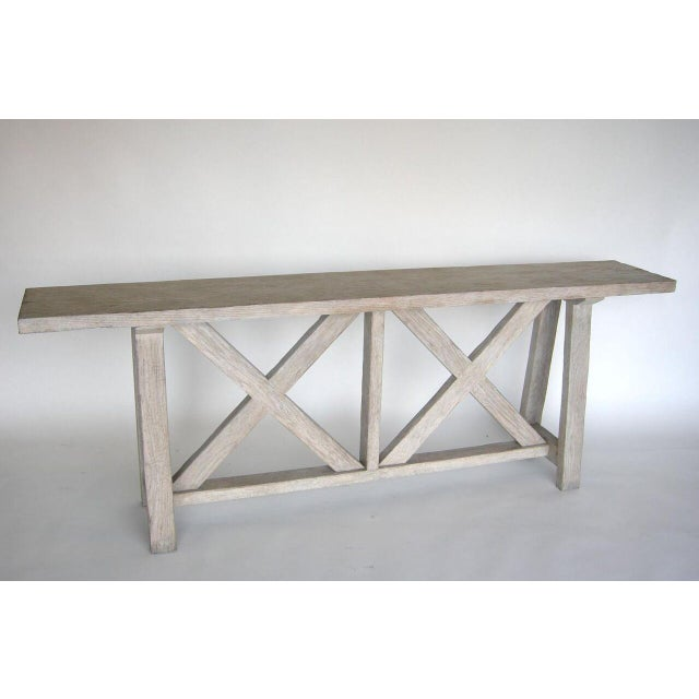 Custom Oak wood X console table as shown in driftwood finish. Can be made in a variety of woods and finishes. Made in Los...