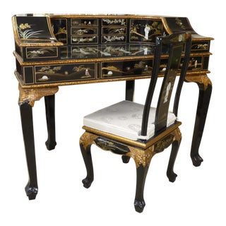 Asian Chinoiserie Carlton House Writing Desk With Chair - 2 Pieces For Sale