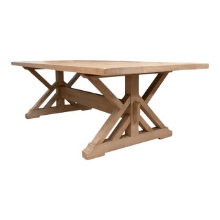 Pickled Pine Farm Table with Trestle Base For Sale