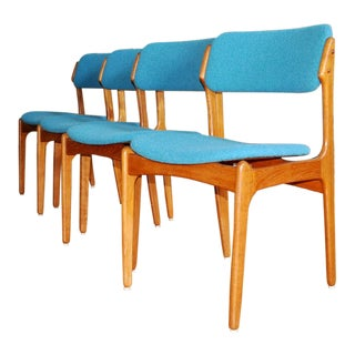 Vintage Mid Century Solid Teak Danish Dining Chairs by Erik Buck- Set of 4 For Sale