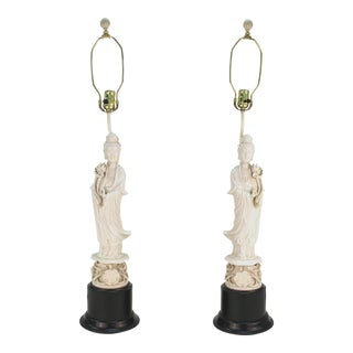 Chinese White Ceramic Guanyin Buddha Table Lamps - a Pair For Sale