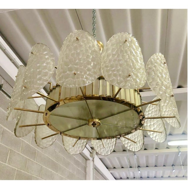 Metal Bespoke Italian Crystal Rose Pink Murano Glass Brass Chandelier / Flushmount For Sale - Image 7 of 8