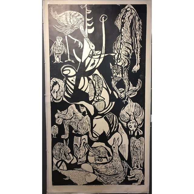 "Clay Walker ""Constant Threat - Dog Eats Cat"" Woodcut Print - Image 2 of 4"