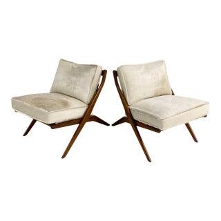 Folke Ohlsson Scissor Chairs With Custom Brazilian Cowhide Cushions, Pair For Sale