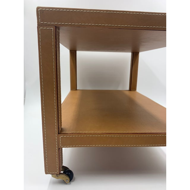 Two Tier Dimuntive Leather Trolley on Casters For Sale In New York - Image 6 of 10