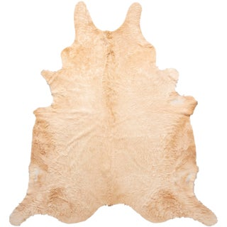 Beige Long Hair Large Cowhide Rug - 8′ × 8′11″ For Sale