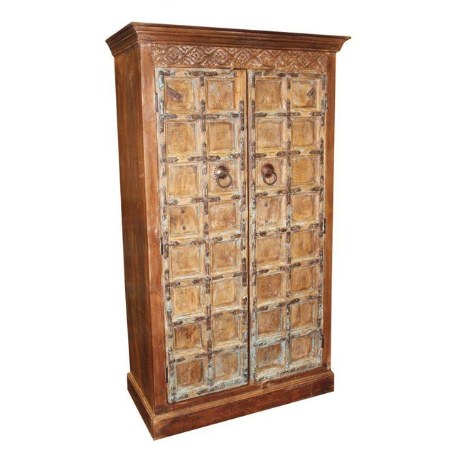 Wood 1920s Indian Teak Hand Carved Armoire For Sale - Image 7 of 7