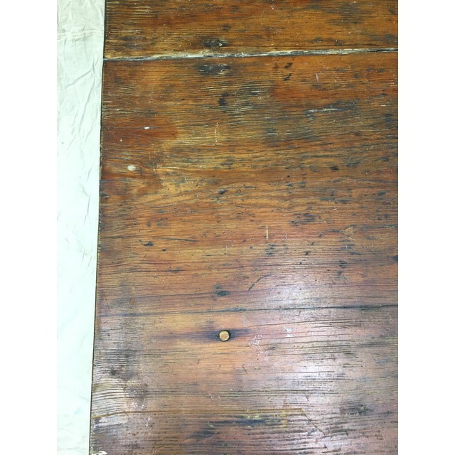 Wood Vintage Rustic Hand Made Farm Table For Sale - Image 7 of 11