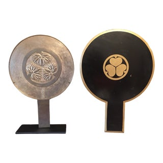 Japanese Bronze Mirror and Presentation Box For Sale