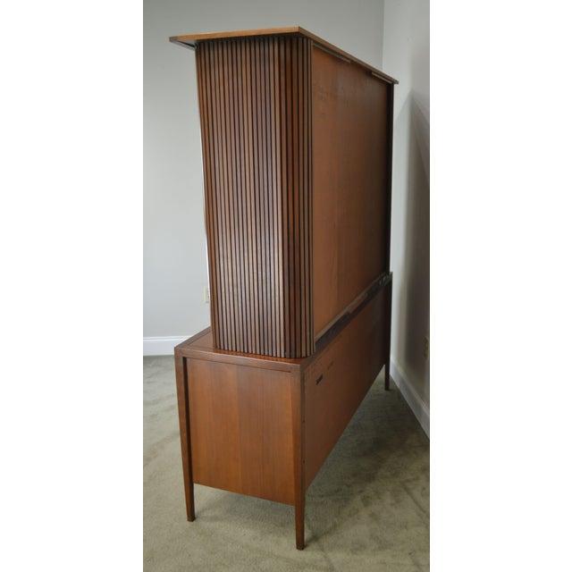 1950s Drexel Counterpoint John Van Koert Mid Century Modern Tambour Door Hutch Top Sideboard, Bookcase For Sale - Image 5 of 13